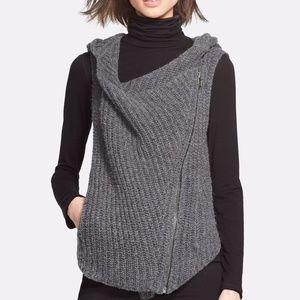 HELMUT LANG Asymetric Zip Knit Hoodie Sweater Vest